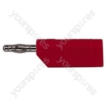 4 mm Stackable Banana Plug with Soft Plastic Cover and Screw Terminals - Colour Red
