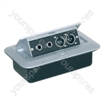 Pop-up AV Combination Plate with Jack Sockets & 3 Pin XLR Chassis Plugs
