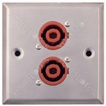 Metal AV Wall Plate with 2 x 4 Pole Connectors