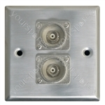 Metal AV Wall Plate with 2 x BNC Sockets
