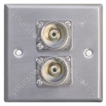 Metal AV Wall Plate with 2 x Phono Sockets