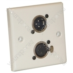 AV Wall Plate With 1 x 3 Pin Male and 1 Female XLR Socket (NC3MDL1)