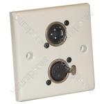 AV Wall Plate With 1 x 3 Pin Male and 1 Female XLR Socket (NC3MDL1)