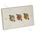 AV Twin Wall Plate With 3 x Phono Sockets (NF2D)