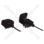 Black 5 A Fused Euro Converter Plug 2 Pole Euro Plug to 3 Pin UK Plug