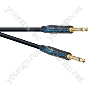 Professional 6.35 mm Mono Jack Plug to 6.35 mm Mono Jack Plug Speaker Lead With Neutrik Jacks and 2x 1.5mm Highflex Cable - Lead Length (m) 1