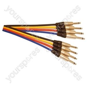 Professional 6.35 mm Mono Jack Plug 6.35 mm Mono Jack Plug Patch Lead With Neutrik Connectors and Klotz Cable 0.5m - Colour Blue