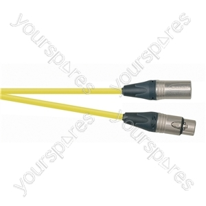 Professional 3 Pin XLR Patch Lead With Neutrik Connectors - Colour Yellow