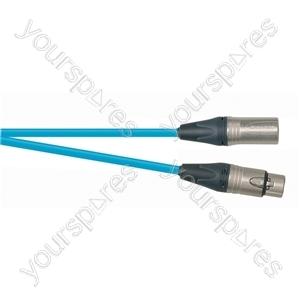 Professional 3 Pin XLR Patch Lead With Neutrik Connectors - Colour Blue