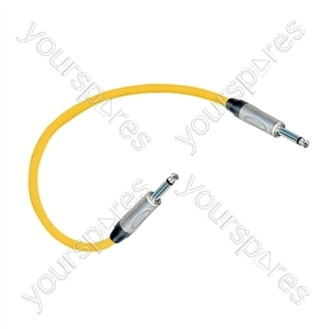 Professional 6.35 mm mono jack plug Patch Lead With Neutrik Connectors 0.5m - Colour Yellow