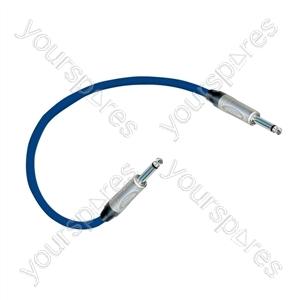 Professional 6.35 mm mono jack plug Patch Lead With Neutrik Connectors 0.5m - Colour Blue