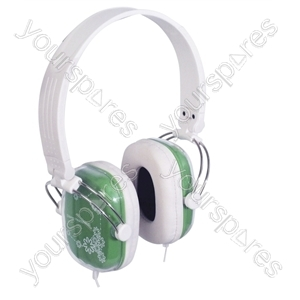 Digital Stereo Fashion Headphones With Volume Control - Colour Green/White