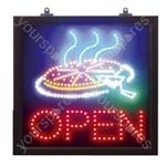 LED Multi-coloured Static Pizza/Open Sign