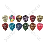 12 Assorted Colour (3 Designs) Celluloid Guitar Picks - Thickness (mm) 0.81