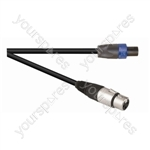 Black Premium 0.3m Highflex 2x 2.5mm 4 Pole Speakon Plug To XLR Line Socket. Sleeve