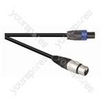 Black Premium 0.3m Highflex 2x 2.5mm 4 Pole Speakon Plug To XLR Line Socket. Sleeve