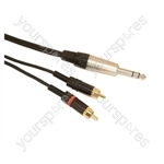 Professional 6.35mm Neutrik Stereo Jack Plug to 2 x Rean Phono Plug Screened Lead With Klotz Cable - Lead Length (m) 5