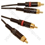 Professional 2x Phono Plugs to 2 x Phono Plugs Screened Lead With Rean Connectors and Klotz Cable - Lead Length (m) 5