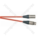 Professional 1m 3 Pin XLR Line Socket to 3 Pin XLR Line Plug Screened Patch Lead With Neutrik Connectors and European Cable - Colour Red