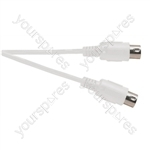 White 1.2 m Heavy Duty 4 Core Screened 5 Pin Midi Plug to 5 Pin Midi Plug