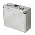 Silver Euro Style Turntable Case with Side and Lid Padding For Transit Protection