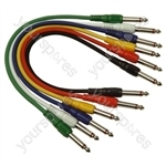 Standard Assorted Coloured 6.35mm Jack Plug to 6.35mm Jack Plug Screened Patch Leads (6) - Lead Length (m) 0.3