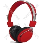 Street Style Coloured Digital Stereo Headphones - Colour Red