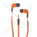 Ribbon Type Digital Stereo Earphones With Anti-Tangle Cable - Colour Orange