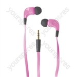 Ribbon Type Digital Stereo Earphones With Anti-Tangle Cable - Colour Pink