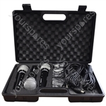 Soundlab Dynamic Vocal Microphone Kit with 3 Plastic Microphones, Leads and Carry Case