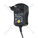 Multi-Voltage 600ma Regulated Switch Mode Power Supply Euro Plug