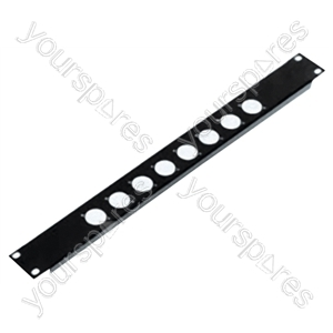 1U Rack Panel With Cut Outs For 8x D Size XLR Sockets
