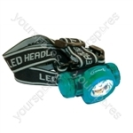 Blue 3 x LED Headlight with 4 Position Switch and Adjustable Headband