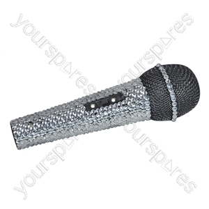 NJS Silver Crystal Effect Karaoke Microphone With 6.35mm Jack Lead