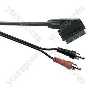 Standard Scart Plug to 2 Phono Plugs TV and Video Lead - Lead Length (m) 1.2