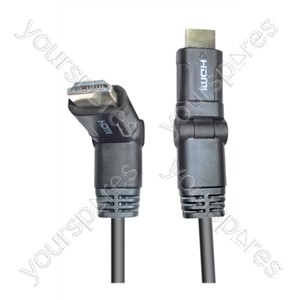 Standard 1.4 Dual Pivoting HDMI to HDMI TV and Video Lead. Contains HDMI Ethernet Channel (HEC). Compatible with 3D Video Formats. Gold Pated Connections - Lead Length (m) 1.5
