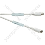 Standard Digital Coaxial Plug to Coaxial Plug TV and Video Lead with Ferrite Rings White - Lead Length (m) 5