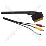 Premium Gold Plated Scart Plug to 3 Phono Plugs TV and Video Lead