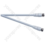 Standard F Type Plug to F Type Plug TV and Video Lead White - Lead Length (m) 1