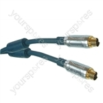 Black 5m Professional Oxygen Free Twin Screened SVHS 4 Pin Plug To SVHS 4 Pin Plug.  Blister