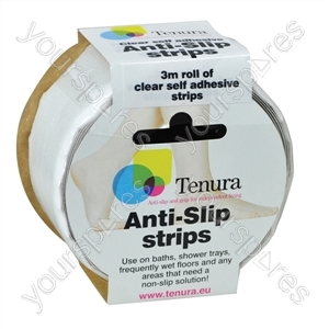 Tenura Aqua Safe Anti Slip Bath and Shower Strips - Colour Clear