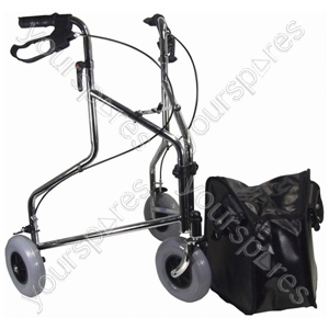Three Wheeled Steel Walker  - Colour Chrome