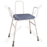 Astral Perching Stool - Configuration Perching Stool with Arms and Plain Back in Aluminium