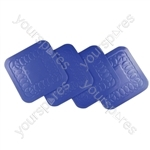 Tenura Anti Slip Silicone Rubber Square Coaster (Pack of 4) - Colour Blue