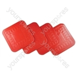 Tenura Anti Slip Silicone Rubber Square Coaster (Pack of 4) - Colour Red