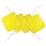 Tenura Anti Slip Silicone Rubber Square Coaster (Pack of 4) - Colour Yellow