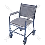 Linton mobile commode finished in long lasting chrome-plating (Unassembled)