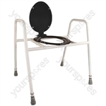 Solo Skandia Raised Toilet Frame with Seat and Lid - Configuration Bariatric Free Standing with Splash Guard and Toilet Lid