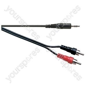 Standard 3.5 mm Stereo Jack Plug to 2x Phono Plugs Lead - Lead Length (m) 1.2