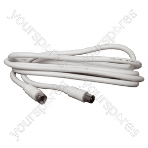 White 2m F Plug To Coax Plug Lead.  Bulk